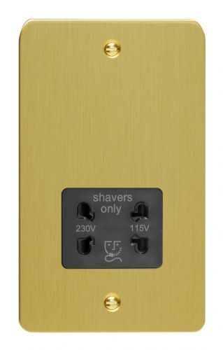 Varilight XFBSSB Ultraflat Brushed Brass Dual Voltage Shaver Socket 240V/115V